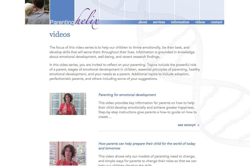 web design for a child psychologist and therapist - videos landing page