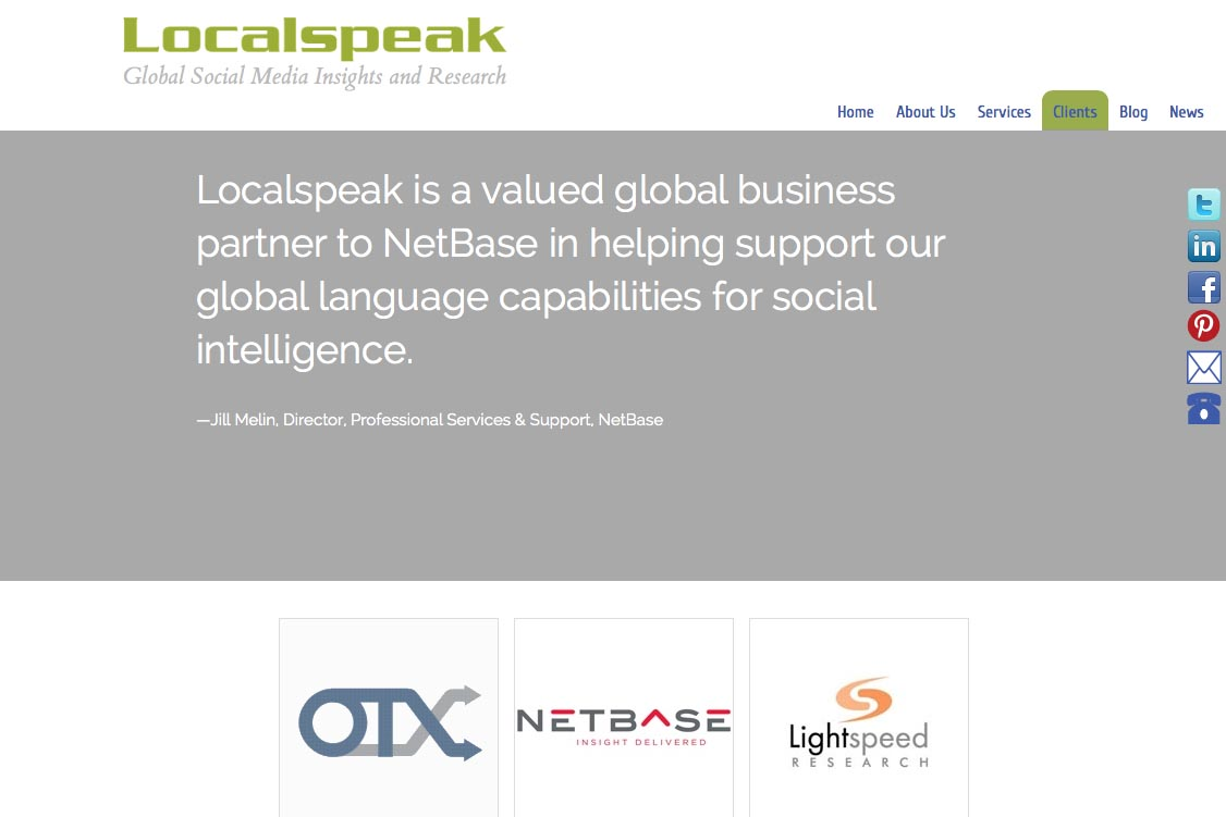 web re-design for a global branding and translation company - clients page b