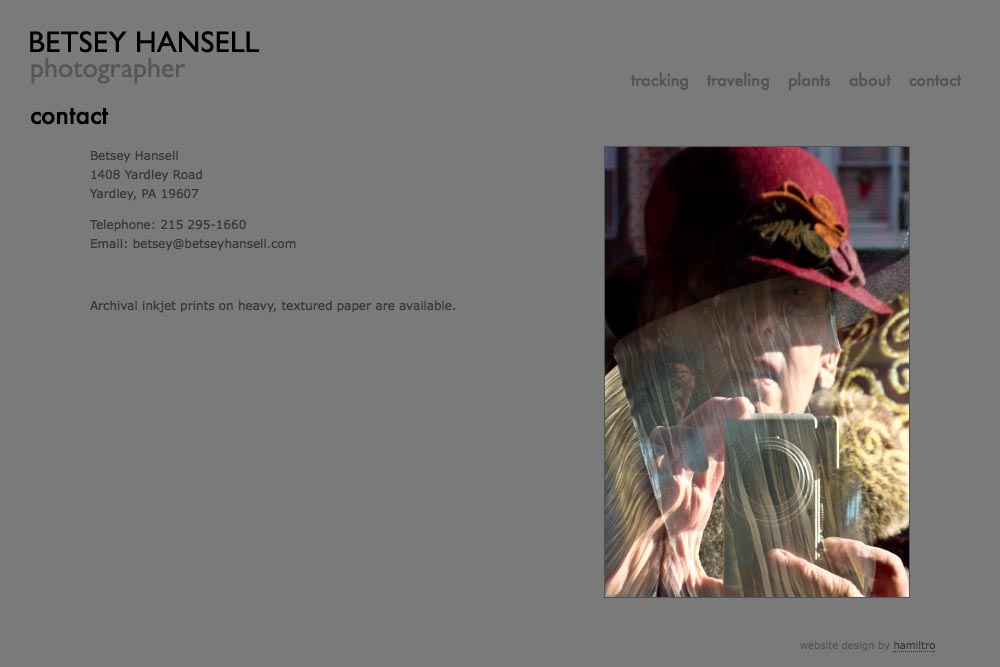 web design for a photographer - Betsey Hansell - contact page