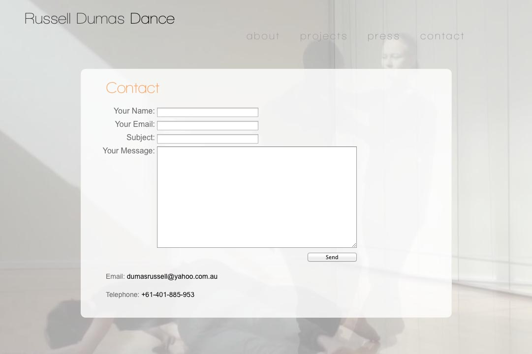 web design for a choreographer - contact page