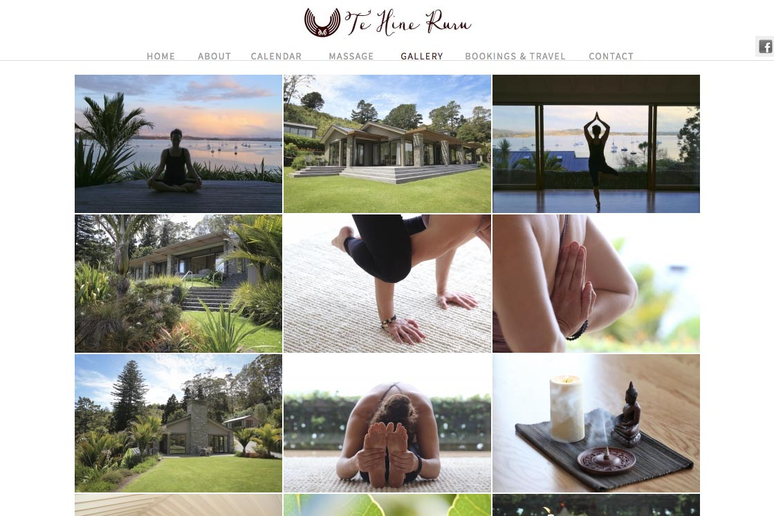 web design for a yoga retreat & massage center in New Zealand - Te Hine Ruru - gallery page