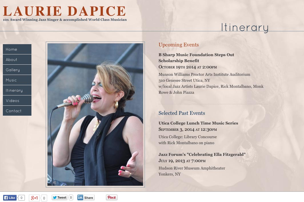 web design for a New York jazz singer - Laurie Dapice - itinerary page
