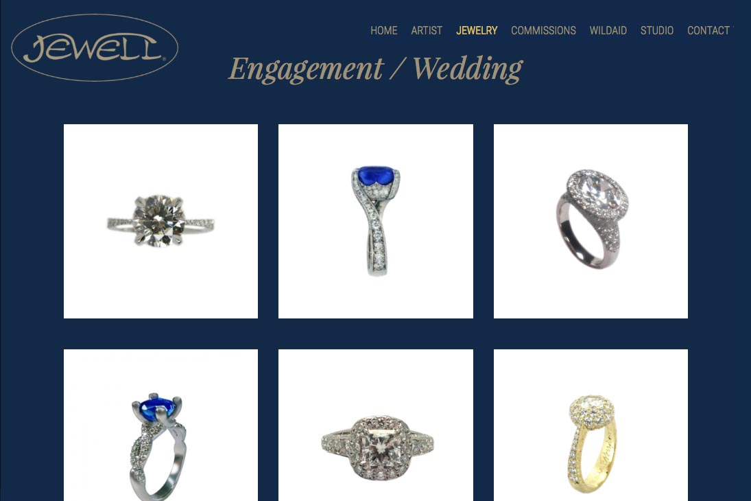 web design for an artisan-jeweler- Frank Alexander Jewell - engagement rings index page