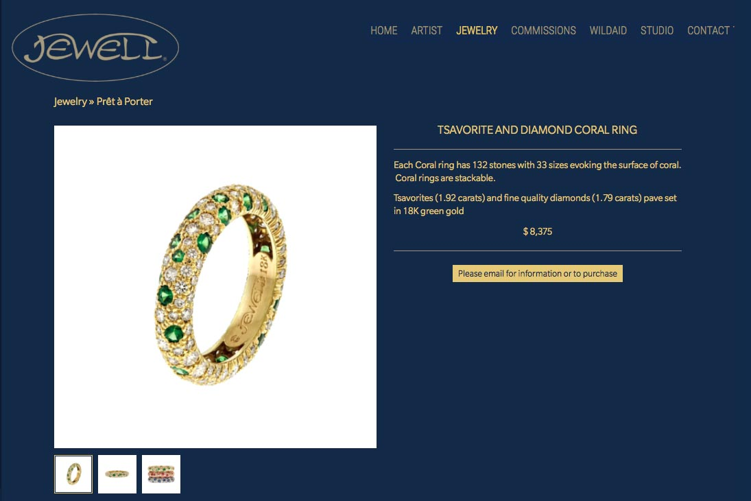 web design for an artisan-jeweler- Frank Alexander Jewell - single product page