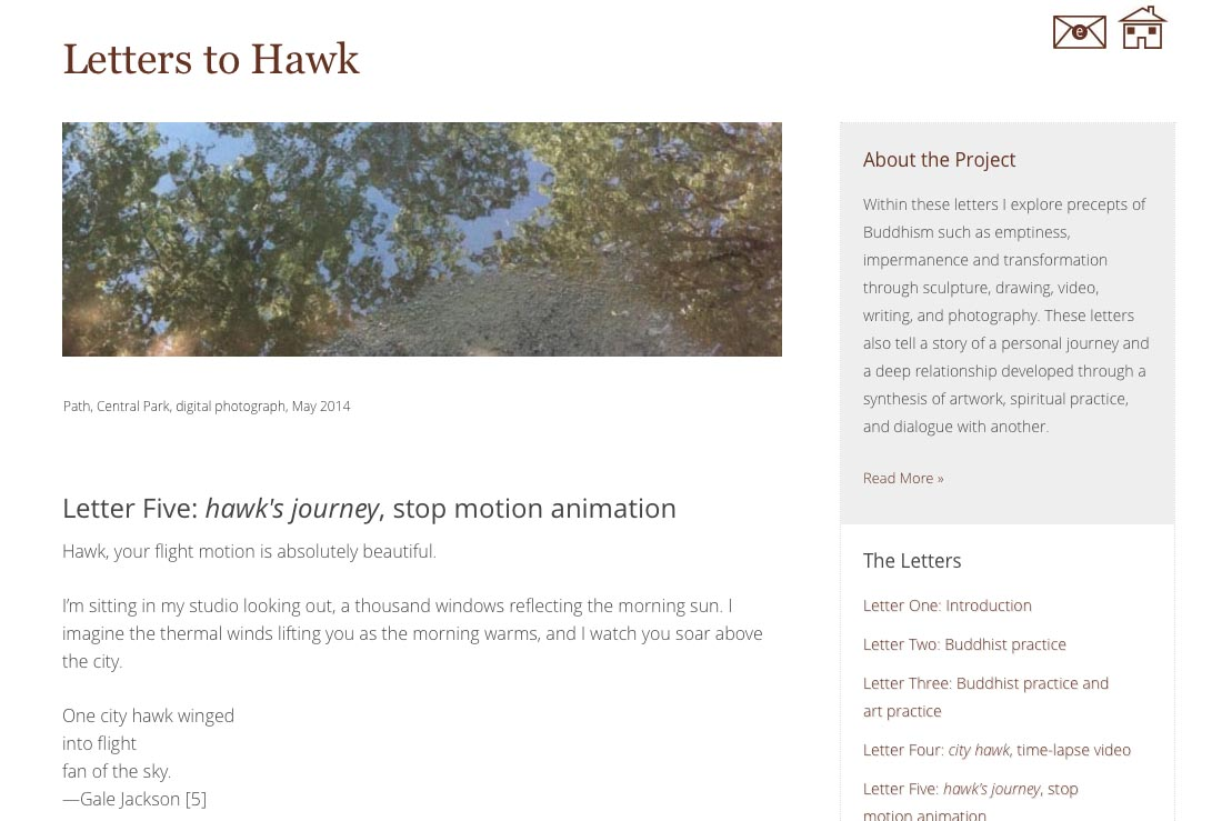web design for an artist project by Tom Cleveland - letter five page