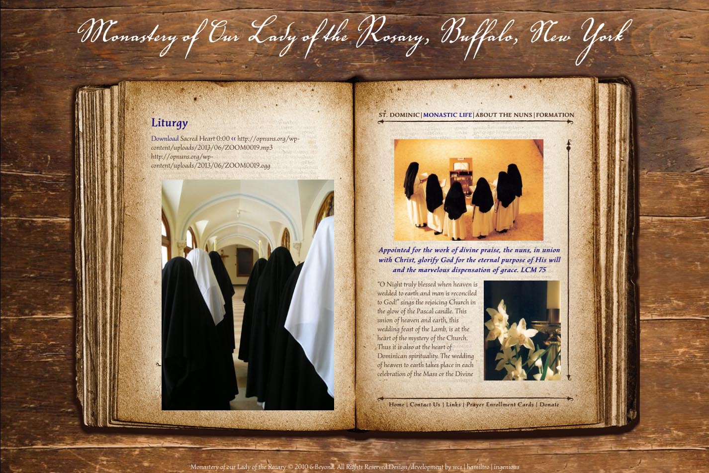 web design for a monastery - liturgy page