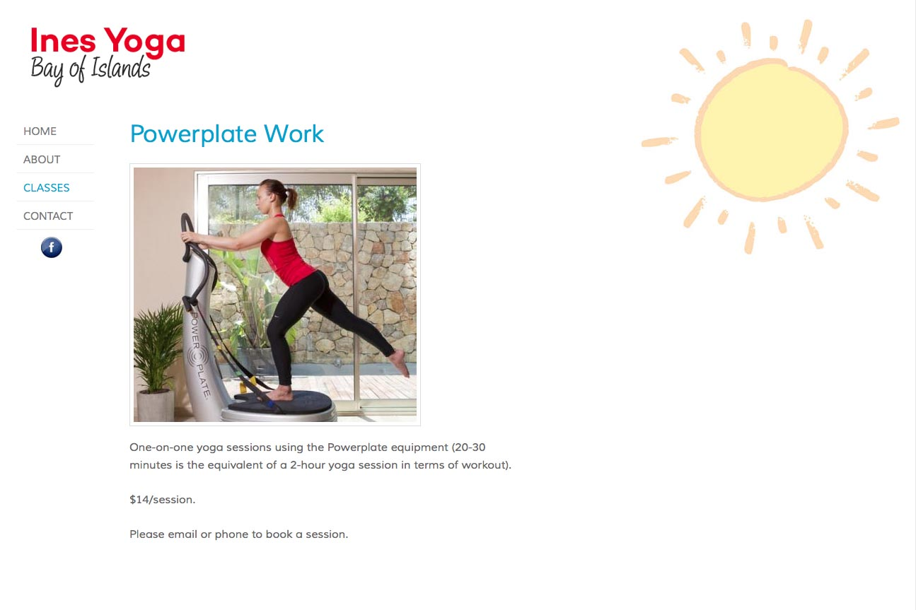 simple web design for a yoga teacher - Ines Piroth - powerplate services page