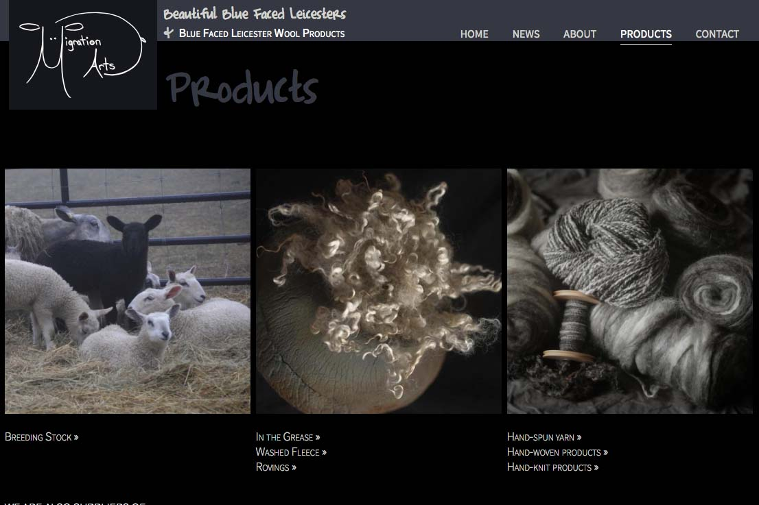 web design for a luxury wool products business - products index page