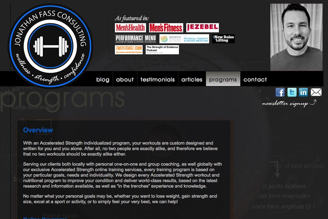 web design for a fitness trainer and consultant - Jonathan Fass - programs landing page