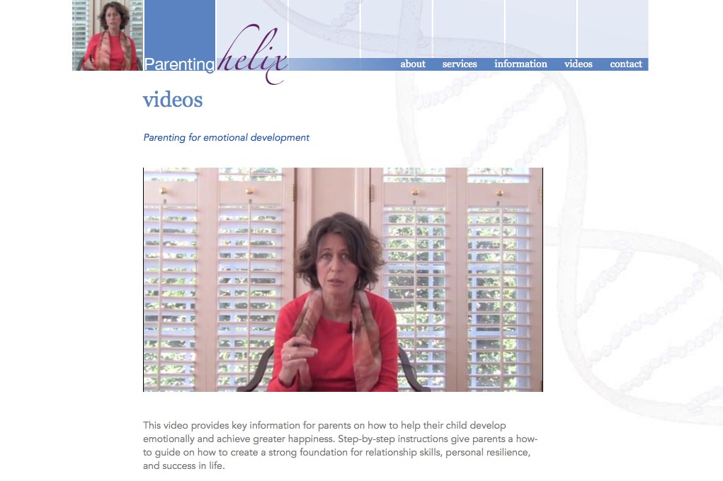 web design for a child psychologist and therapist - Robin Bril - video single page