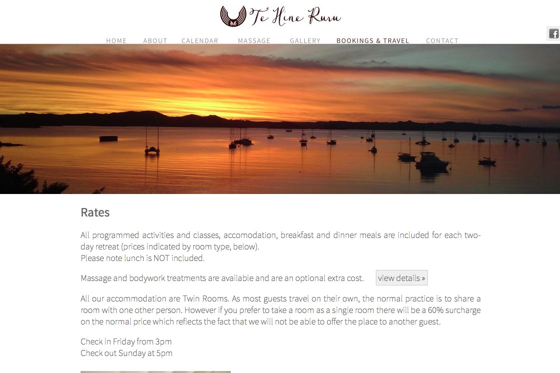 web design for a yoga retreat & massage center in New Zealand - Te Hine Ruru - bookings and travel page