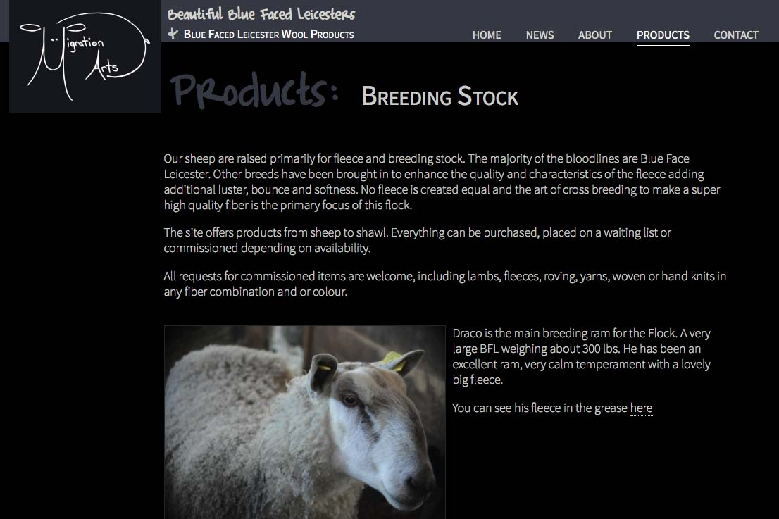 web design for a luxury wool products business - breeding stock index page