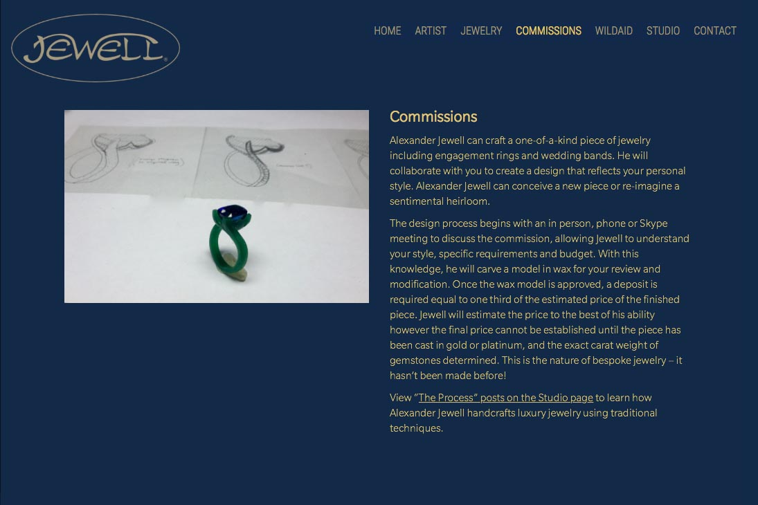 web design for an artisan-jeweler - commission page