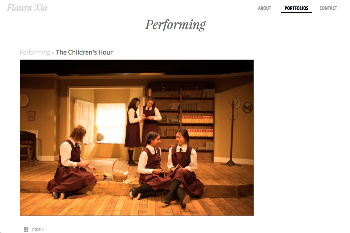 web design for an artist, writer, composer and actor - Flaura Xia - single performance page