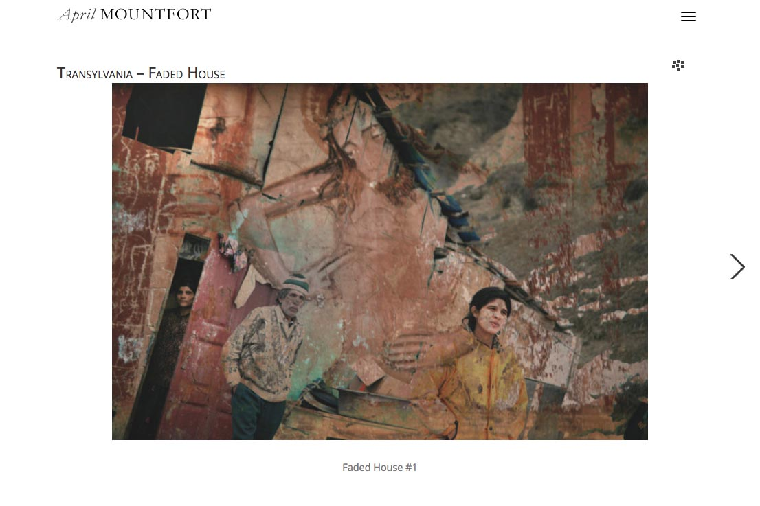 web design for a photographic artist and painter - April Mountfort - single artwork page from the transylvania portfolio