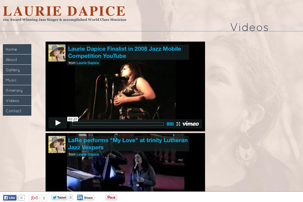 web design for a New York jazz singer - video page