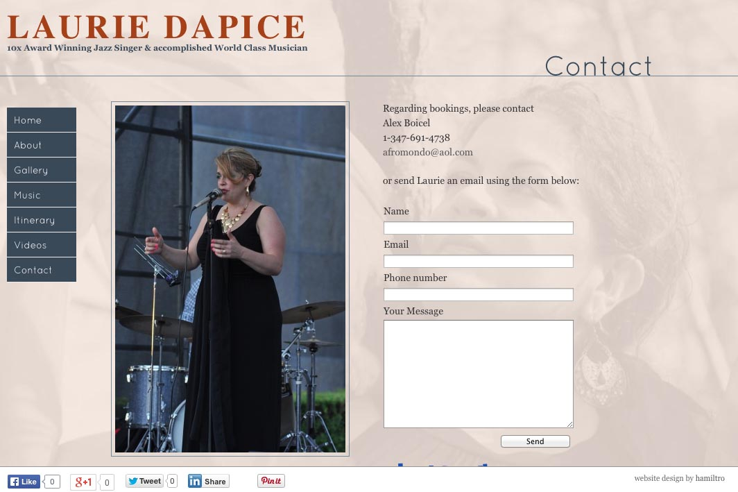web design for a New York jazz singer - Laurie Dapice - contact page