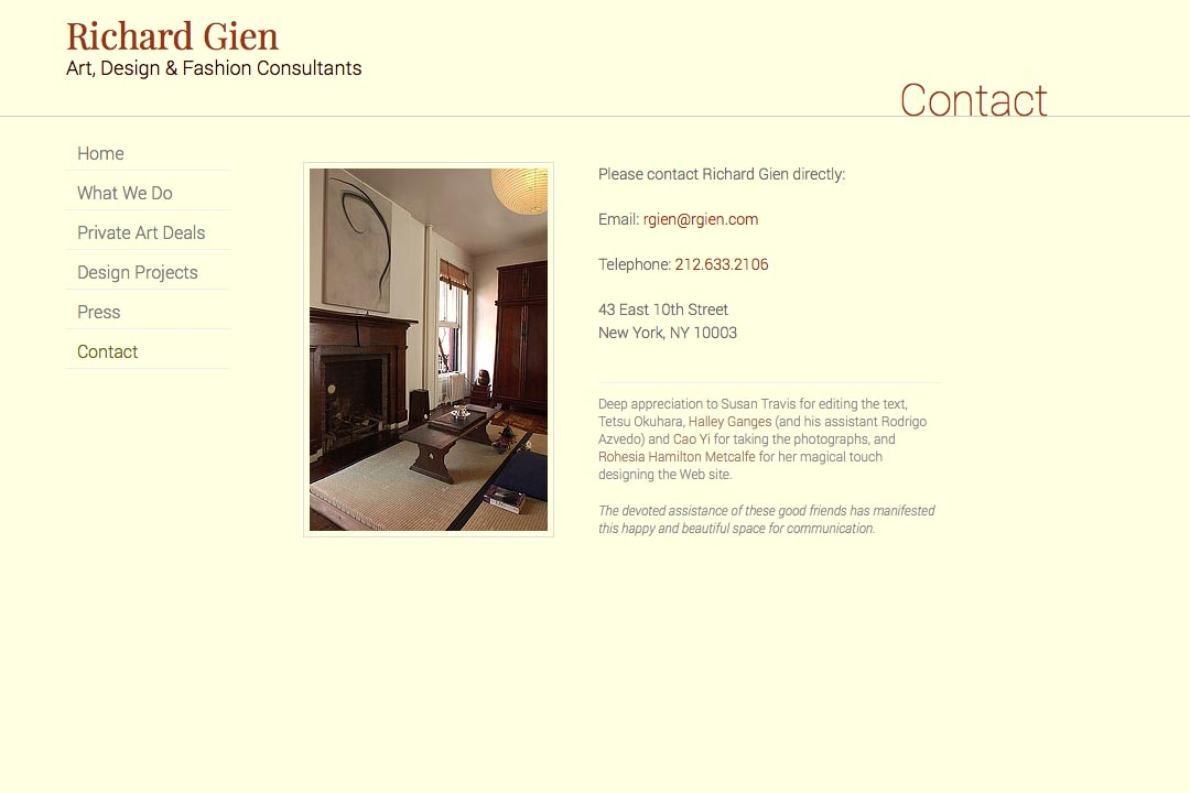 web design for a fashion designer, interior design consultant and art dealer - Richard Gien - contact page