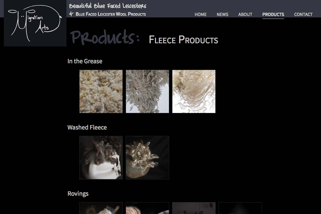 web design for a luxury wool products business - fleece products index page