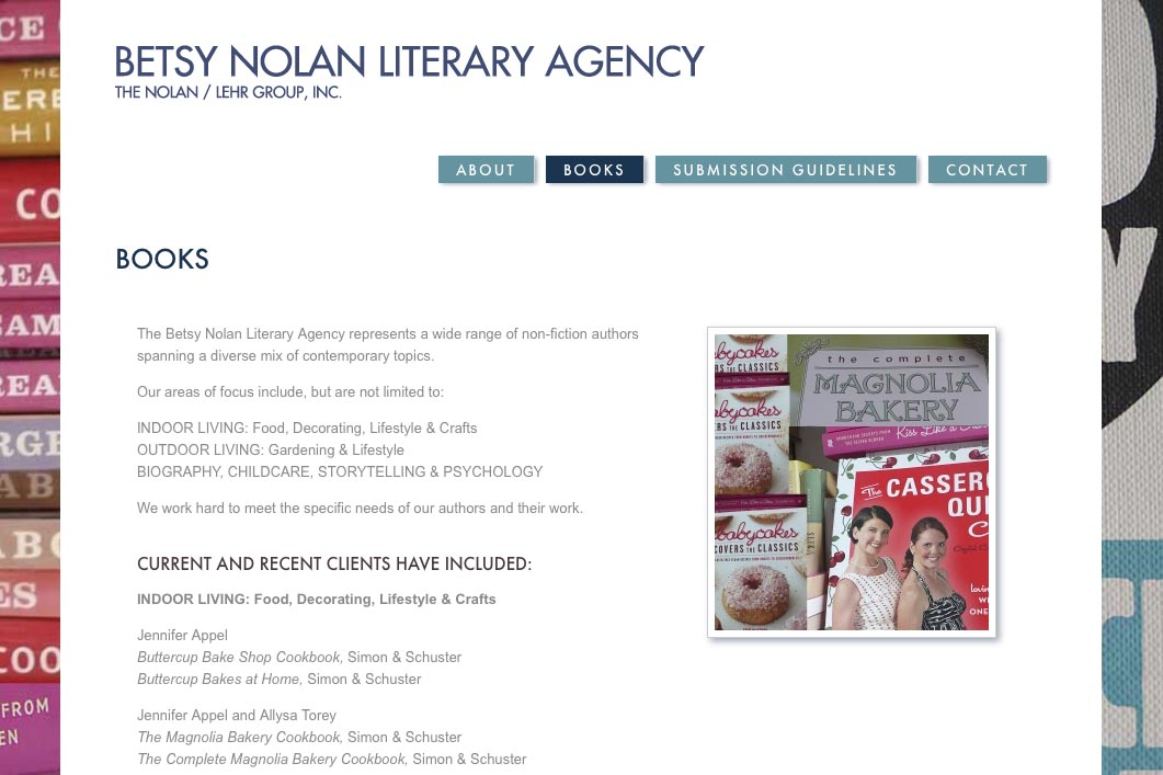 web design for a book publisher - books page