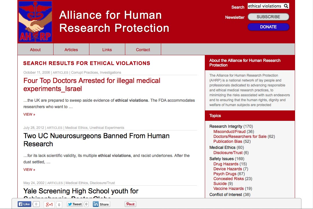 web design for a new york non-profit organization - search page