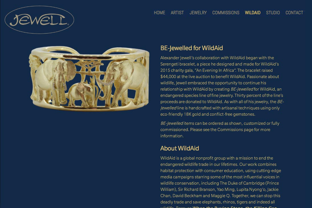web design for an artisan-jeweler- Frank Alexander Jewell - wildaid charity page