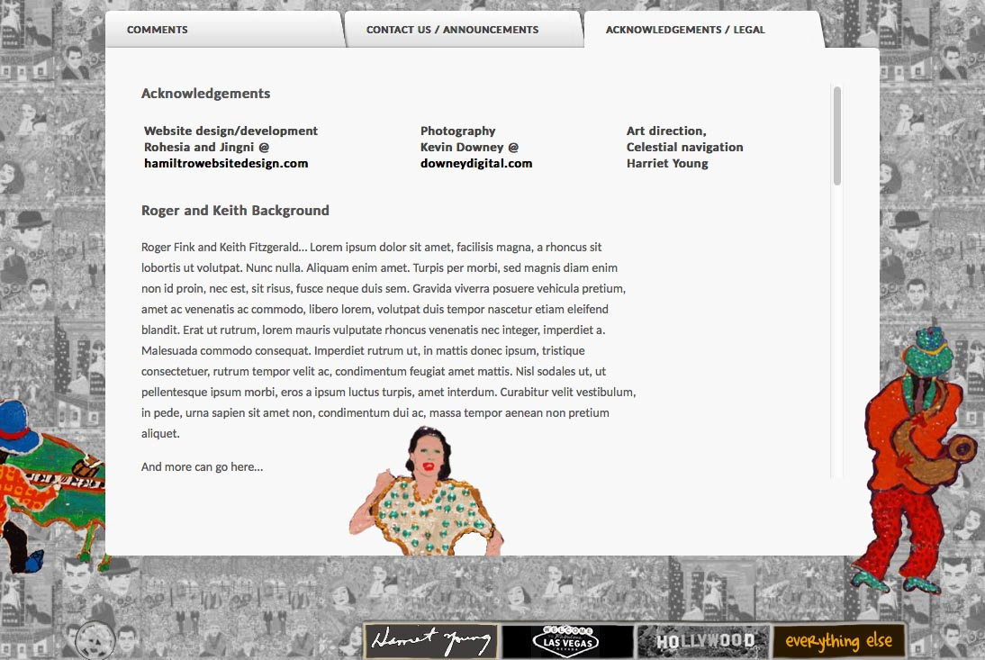 web design for a self-taught american artist - acknowledgements page