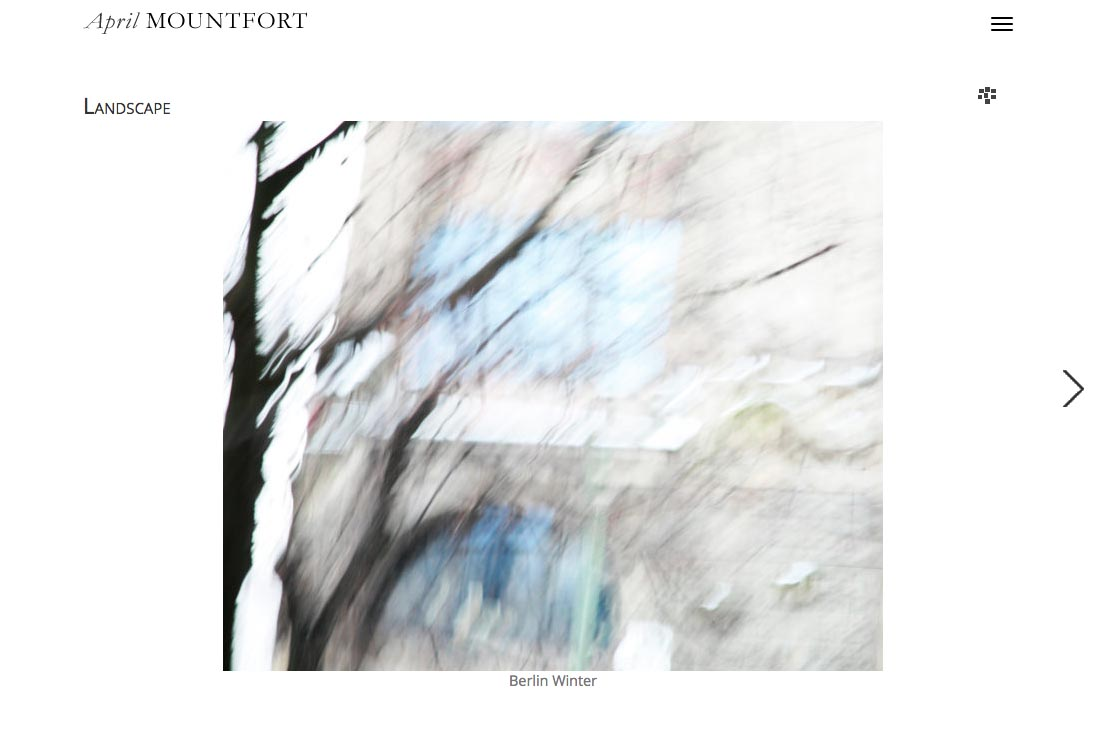 web design for a photographic artist and painter - April Mountfort - single artwork page from the landscape portfolio