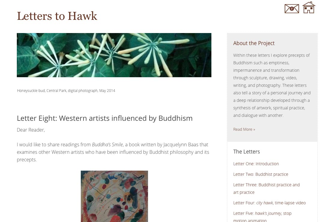 web design for an artist project by Tom Cleveland - letter eight page