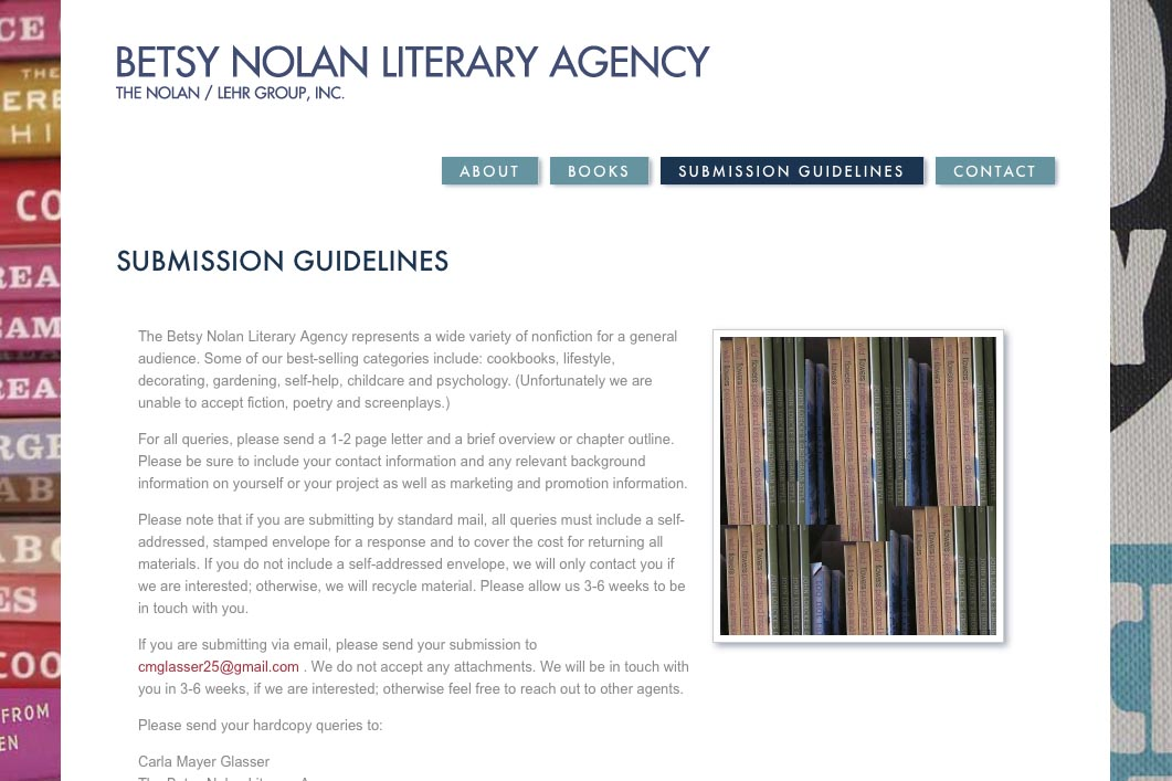 web design for a book publisher - submissions guidelines page