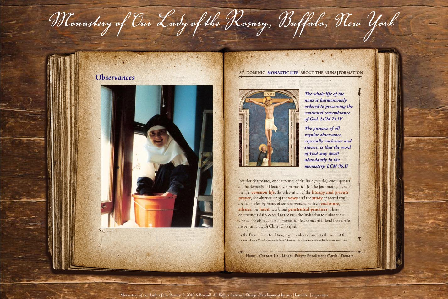 web design for a monastery - observances page