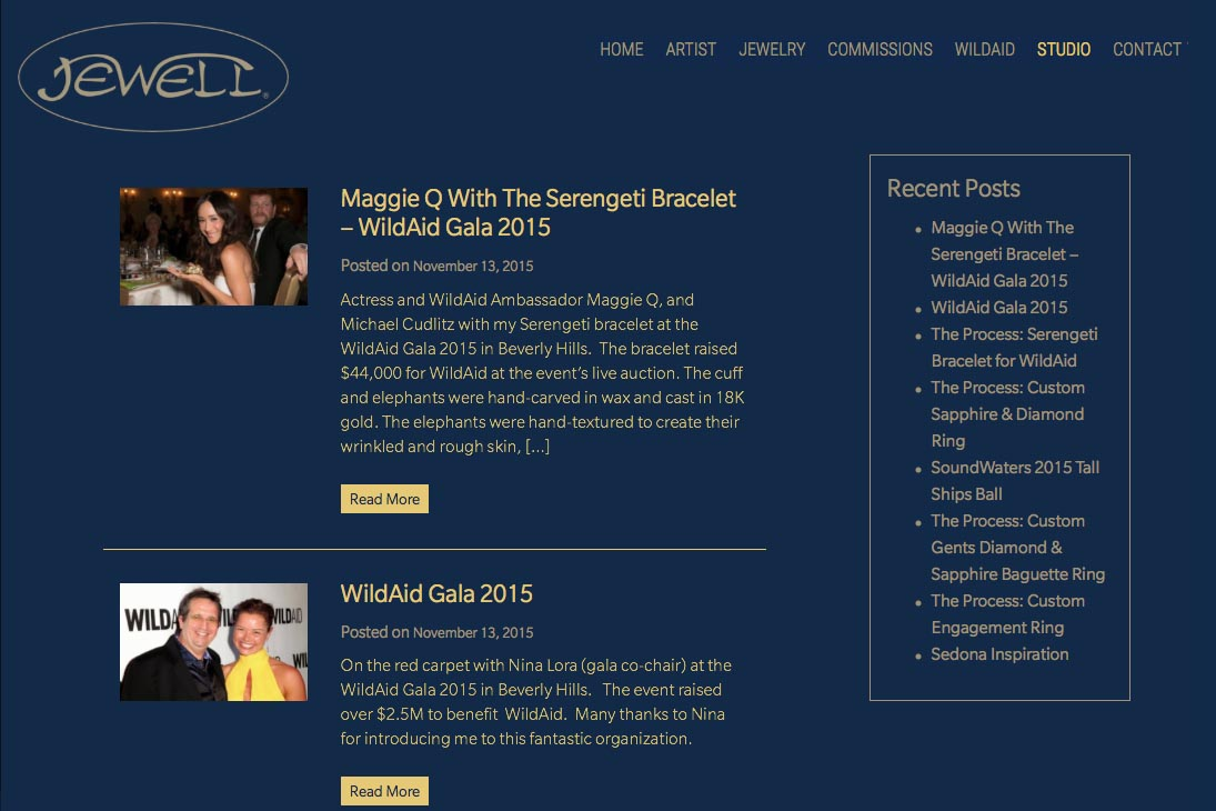 web design for an artisan-jeweler - studio news index page