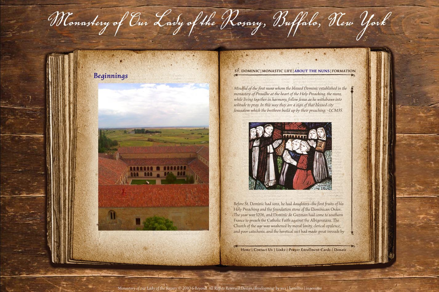 web design for a monastery - beginnings page