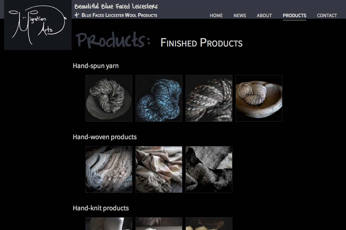 web design for a luxury wool products business - finished products index page