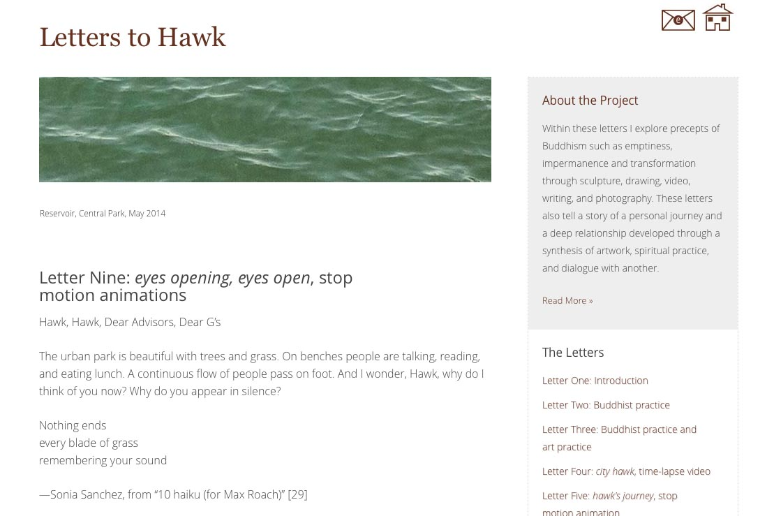 web design for an artist project by Tom Cleveland - letter nine page