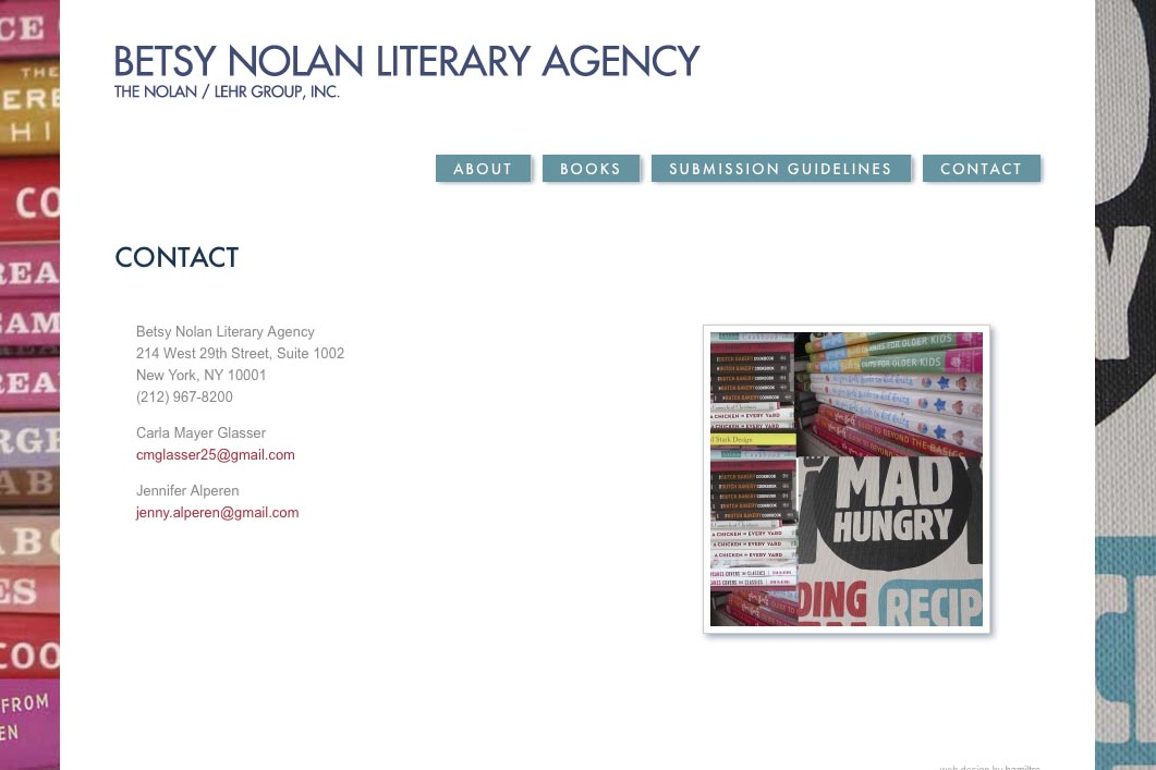 web design for a book publisher - contact page