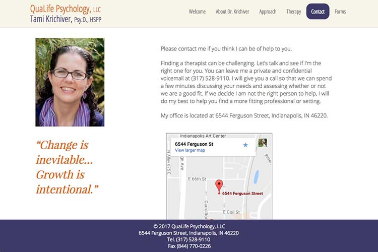 web design for a therapist and psychologist - contact page