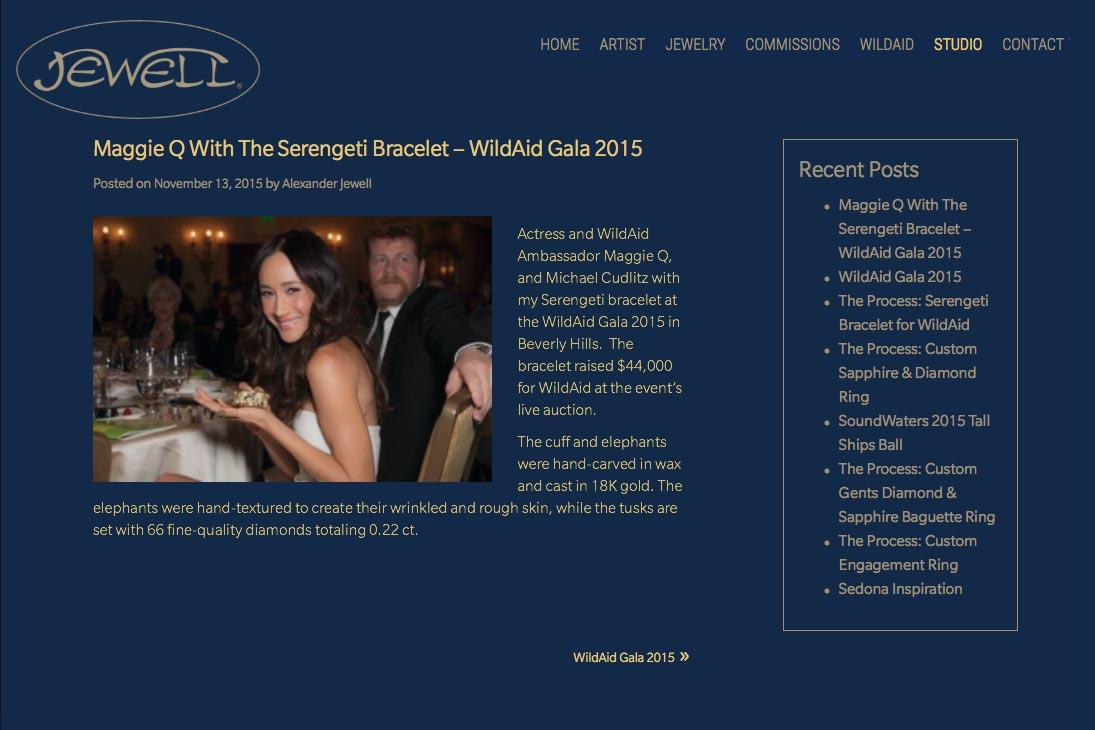 web design for an artisan-jeweler - Frank Alexander Jewell - studio news page