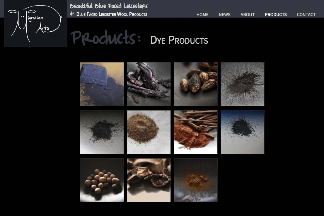 web design for a luxury wool products business - dyes index page