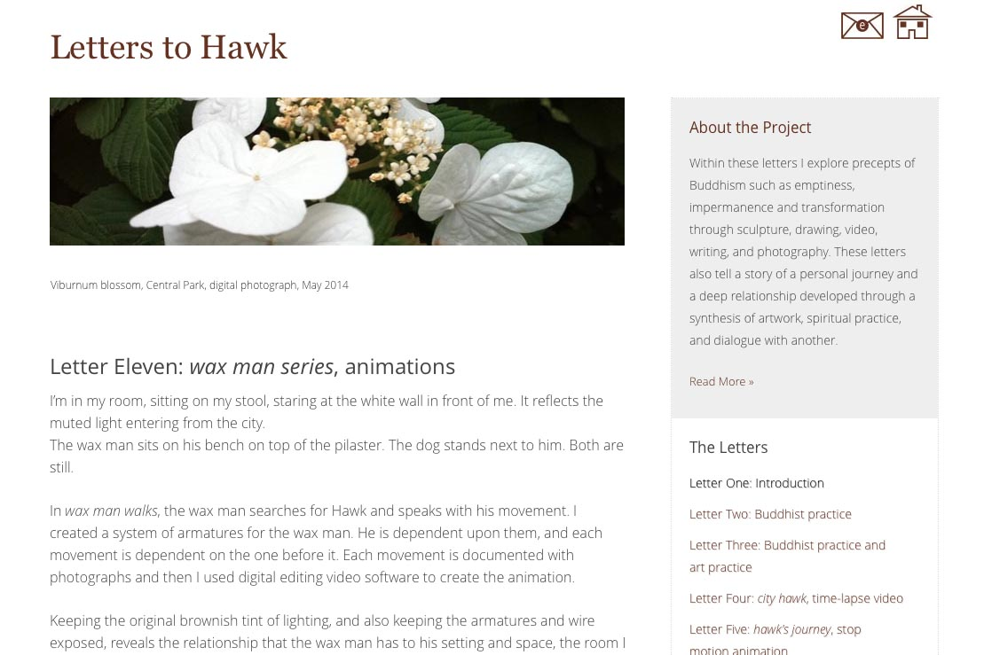web design for an artist project by Tom Cleveland - letter eleven page