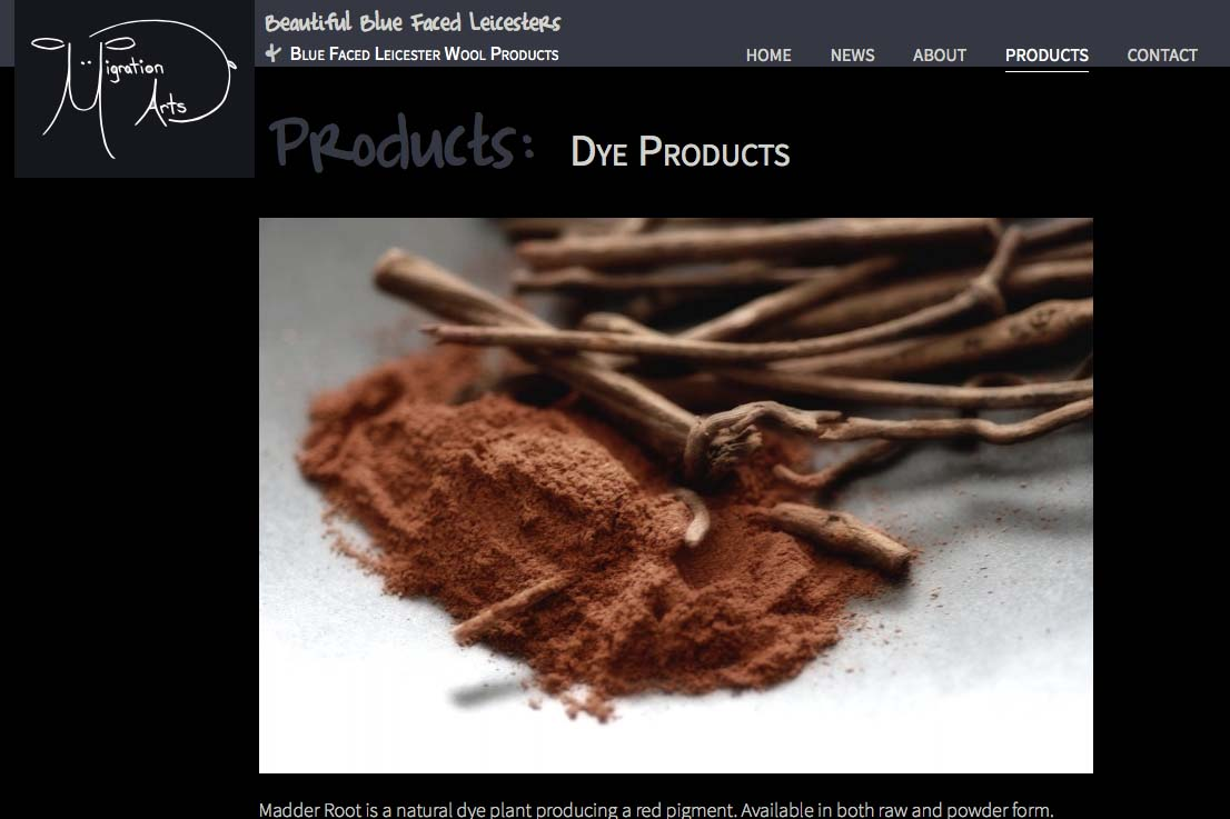 web design for a luxury wool products business - dyes single product page