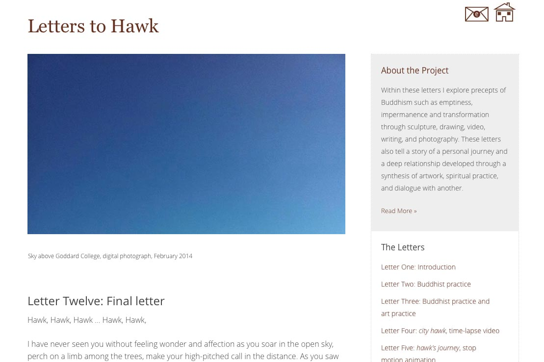 web design for an artist project by Tom Cleveland - letter twelve page