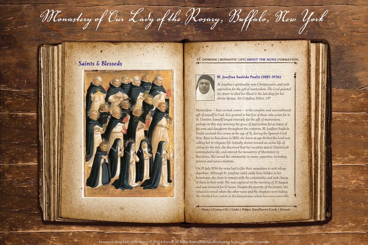 web design for a monastery - saints and blesseds page