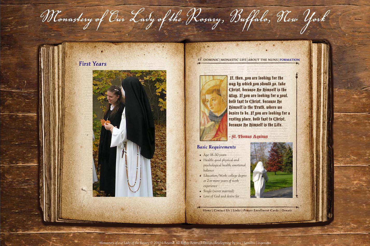web design for a monastery - first years