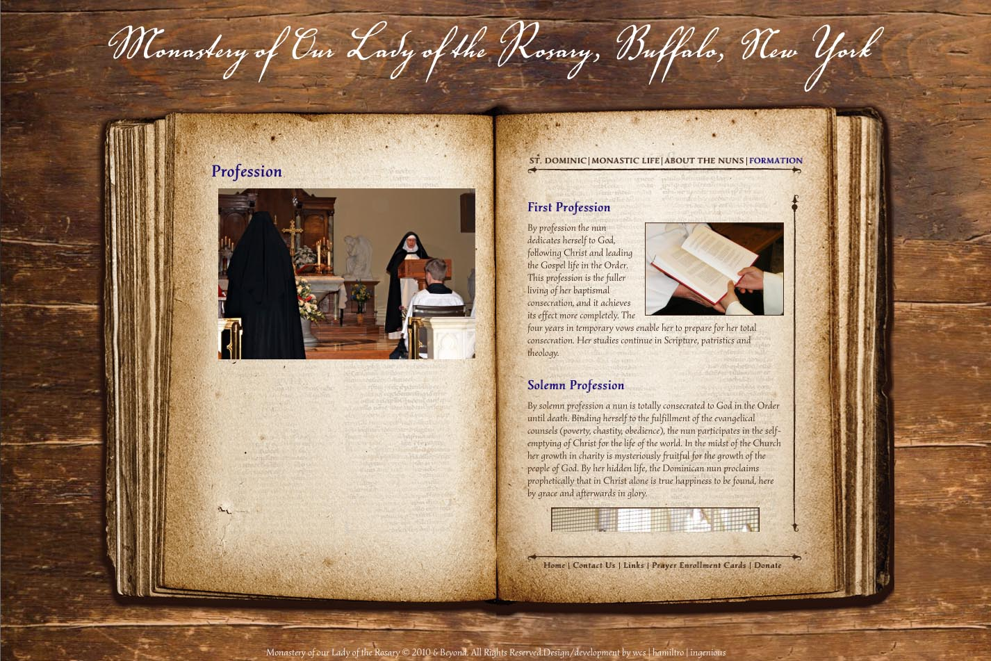web design for a monastery - profession page