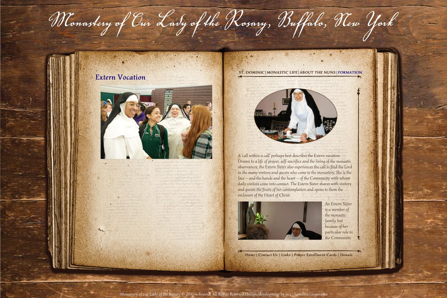 web design for a monastery - extern vocation page