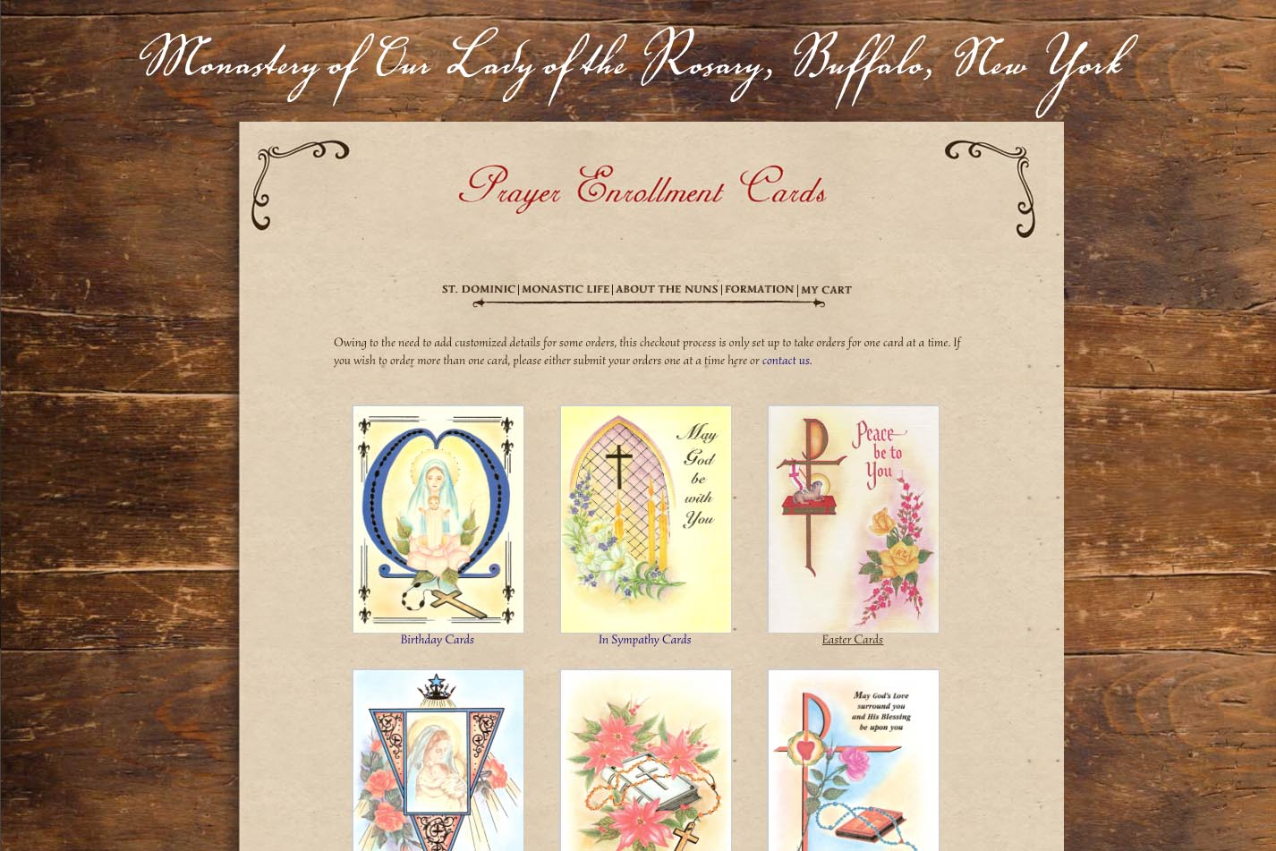web design for a monastery - prayer cards landing page