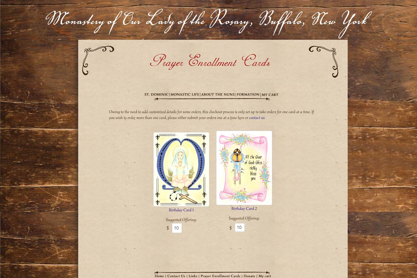 web design for a monastery - birthday cards landing page