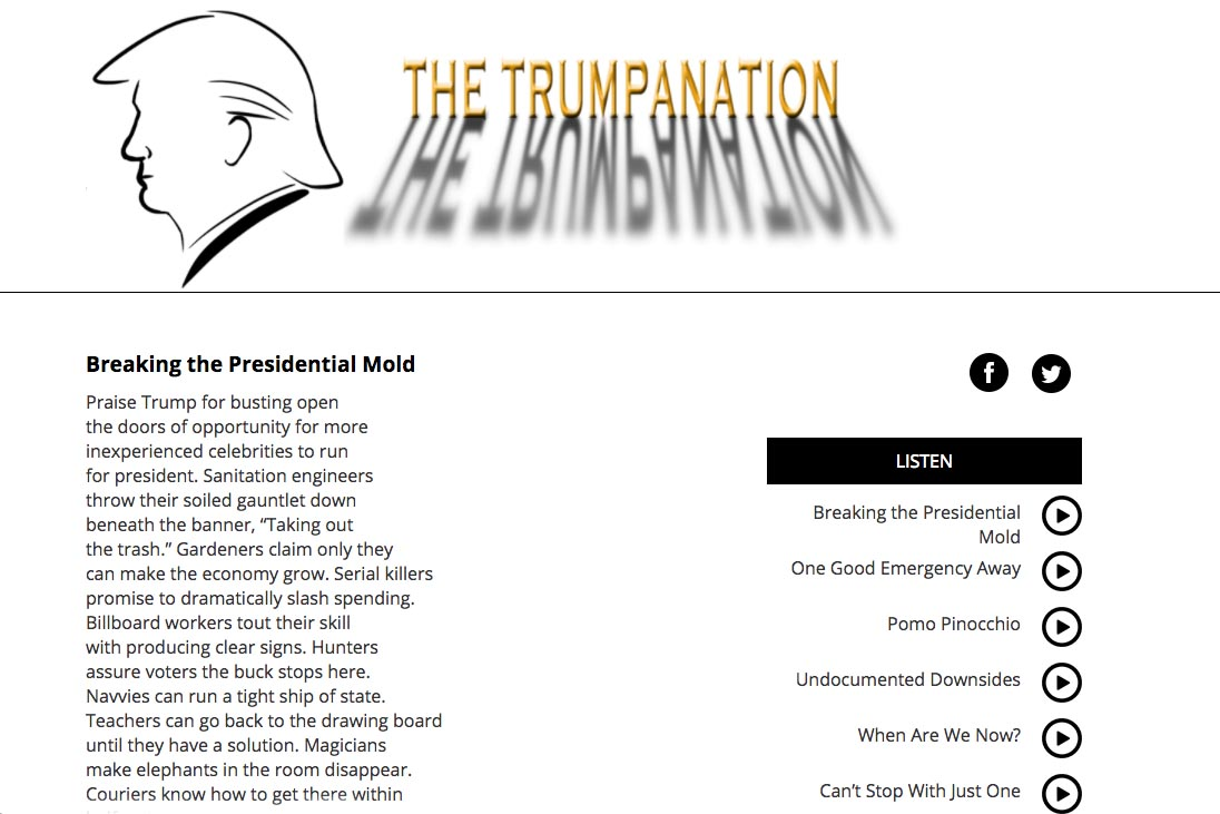 website designed for a writer of poems about Donald Trump as President