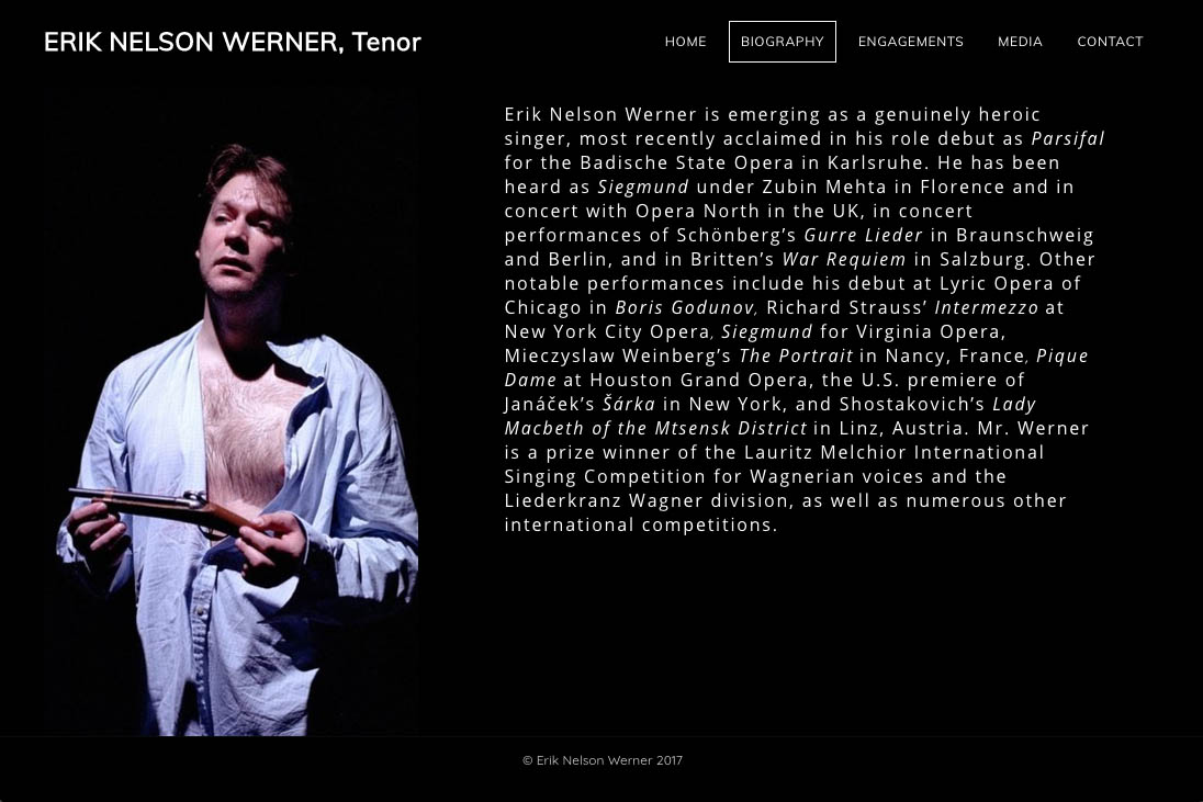 customization of a weebly site for an opera singer -  - biography page
